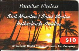 SAINT MARTIN - Palm Trees, Sunset, Paradise Wireless By ODC Prepaid Card $10, Used - Antilles (Netherlands)