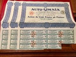 S.A.  AUTO - OMNIA  ( Fournitures  Générales  Pour  Automobiles ) ----  Lot  De  3  Actions   De  100 Frs - Cars