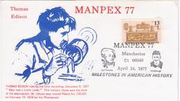 USA United States 1977 FDC Thomas Edison, MANPEX'77, Canceled In Manchester - Sobre Primer Día (FDC)