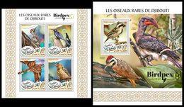 DJIBOUTI 2017 - Woodpecker, Birds - YT 1672-5 + BF226; CV=40 € - Climbing Birds