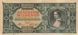 BILLET HONGRIE 1946 100000 SZAZEZER MILPENGO - Hungary