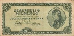 BILLET HONGRIE 1946   SZAZMILLIO  MILPENGO - Hungary