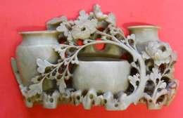 Riche Rare Vase Porte Pinceaux Stéatite Verte Old Soap Rock Décor Floral Chine Indochine Sculptée Top - Asian Art