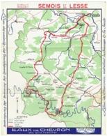 Carte Géographique Publicité. Eaux De Chevron. Circuit Rondrit. Semois Et Lesse. Gileppe-Spa-Amblève. - Cartes