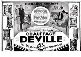 """Pub.1928 Chauffage Deville  Poêles  """" Elégance,Confort """" TBE - Publicités"""