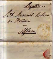 Prefilatelia Año 1852 Carta  Azuaga A Alfaro   Marcas   Amarilla Azuaga Extremadura Baja RARA - Espagne