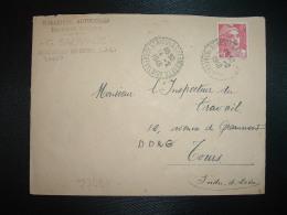LETTRE TP M. DE GANDON 6F OBL. Tiretée 14-2 1948 ST NICOLAS DES MOTETS INDRE ET LOIRE(37)G. SAUVAGE MECANIQUE AUTOMOBILE - Marcophilie (Lettres)