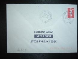 LETTRE TP M. DE BRIAT TVP ROUGE OBL.13-2 1996 37 DIERRE GA INDRE ET LOIRE + GUICHET ANNEXE - Marcophilie (Lettres)