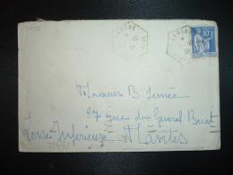 LETTRE TP PAIX 90c OBL. HEXAGONALE Tiretée 7-10 39 LEMERE INDRE ET LOIRE (37) - Postmark Collection (Covers)