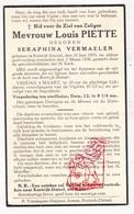DP Seraphina Vermaelen ° Kortrijk-Dutsel Holsbeek 1870 † 1938 X Louis Piette - Imágenes Religiosas