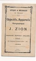 Catalogue Matériel Appareils Photographiques  Optique Mécanique De Précision ( Objectifs Jumelles ) J. ZION  Année 1904 - Supplies And Equipment