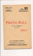 Catalogue Matériel Appareils Photographiques  Lampes électriques  Jumelles  PHOTO HALL  Année 1911 - Supplies And Equipment