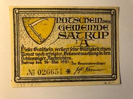 Allemagne Notgeld Satrup 1 Mark - [ 3] 1918-1933 : Weimar Republic