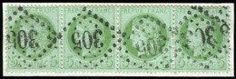 France. Sc #53. Strip Of 4. Used. - 1871-1875 Ceres
