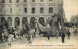 """- Dpts Div.- Ref-AD910- Marne - Reims - Cortège """" Reims Magnifique """"- Char Grands Magasins - Fêtes - Societe Generale - - Reims"""