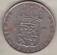 Sweden 1 Krona 1956 TS Gustaf VI , En Argent . KM# 826 - Sweden