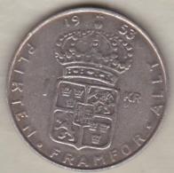 Sweden 1 Krona 1953 TS Gustaf VI , En Argent . KM# 826 - Sweden