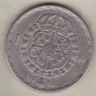 Sweden 1 Krona 1950 TS Gustaf V , En Argent . KM# 814 - Sweden