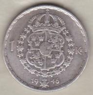 Sweden 1 Krona 1946 TS Gustaf V , En Argent . KM# 814 - Sweden