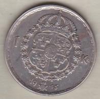 Sweden 1 Krona 1945 G Gustaf V , En Argent . KM# 814 - Sweden