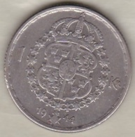Sweden 1 Krona 1944 G Gustaf V , En Argent . KM# 814 - Sweden