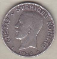 Sweden 1 Krona 19436 G Gustaf V , En Argent . KM# 786.2 - Suède