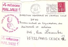 France 1977 - Flamme Versailles Sur Enveloppe Propagande Anti-nucléaire - Malville - Ecologie - Barabajagal - France