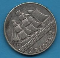 POLAND 2 ZLOTE 1936  KM# 30 15th Anniv. Of Gdynia Seaport SHIP BATEAU Silver (.750) - Poland