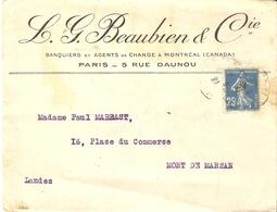 France 1921 - Semeuse 140 Sur Enveloppe à En-tête Commerciale Beaubien (Banque Montréal) - De Paris à Mont De Marsan - France