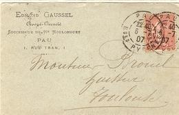 France 1907 - Semeuse 129 Sur Lettre à En-tête Avoué Edmond Gaussel - De Pau à Toulouse - France