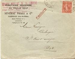 France 1932 - Enveloppe Commerciale à En-tête Minoterie/Severac -  Maringues (Puy De Dôme) - Griffe Facture - France