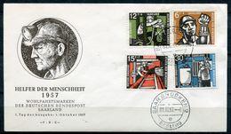 "Germany Saarland 1957 First Day Cover FDC Mi.Nr.404/07 ""Wohlfahrt-Kohlebergbau,The Miner,Bergmann ""1 FDC - Professioni"