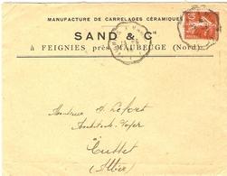 France 1914 - Enveloppe Commerciale à En-tête Sand/Carrelages - De Feignies(Nord) à Cusset (Allier) - Semeuse 135 - France