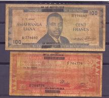 Burundi  2billets Rares  50 + 100 Fr Overprint Africani - Burundi