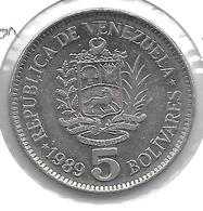 *Venezuela 5 Bolivares  1989  Km 53a1 Xf - Venezuela