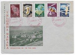Yugo-Slavia 1950; Chess Ajedrez Olympiad Stampset On Cover With FDC Cancel - Ohne Zuordnung