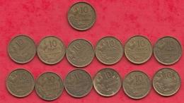 France 13 Pièces De 10 Francs (Georges Guiraud) (COLLECTION COMPLETE ANN2E 1954 PIECE RARE) - France