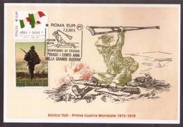 ZN11   Italia 2015 Prima Guerra Mondiale Enrico Toti Annullo Roma Eur Cartolina Postale - Prima Guerra Mondiale