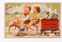 LUXEMBOURG - Carte Humoristique à Système ( Bonjour De .. CYCLISTES ) Circulée En 1949 - 3 Scans - Saluti Da.../ Gruss Aus...