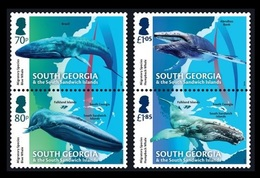 South Georgia 2018 Mih. 724/27 Fauna. Migratory Species. Whales. Blue Whale And Humpback Whale MNH ** - South Georgia