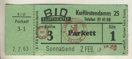 Berlin,Kurfürstendamm 25, Vom 2.2.1963  Eintrittskarte - BID Filmtheater  (53999-45) - Tickets D'entrée