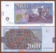 """MACEDONIA 2000 Denari 2013 UNC. Private Essay. Specimen. Monument """"Ilinden"""" - Billets"""
