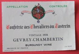 étiquette Gevrey Chambertin, Millésime 1934, De La Confrérie Des Chevaliers Du Tastevin à Vougeot - Bourgogne