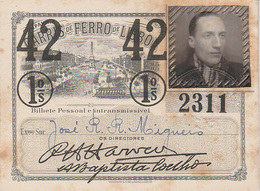 Portugal - Carris De Ferro De Lisboa Passe Semestral 1942 - Autres