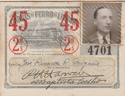 Portugal - Carris De Ferro De Lisboa Passe Semestral 1945 - Autres