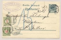 Schweiz - 1898 - 10c + 5c Portomarke On Postcard From Höhr (Deutschland) To St Gallen - Strafportzegels