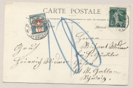 Schweiz - 1913 - 10c Portomarke On Postcard From France  To St Gallen - Strafportzegels