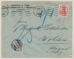 Schweiz - 1914 - 25c Portomarke On Commercial Cover From Mannheim / Deutschland To Wohlen - Strafportzegels