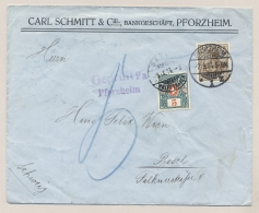 Schweiz - 1914 - 5c Portomarke On Censored Commercial Cover From Pforzheim / Deutschland To Basel - Strafportzegels