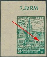 SBZ West-Sachsen 1946 Leipziger Messe Plattenfehler 165 BX VI Postfrisch Ecke - Zone Soviétique